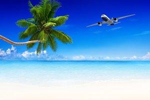 airplane and beach blue sky