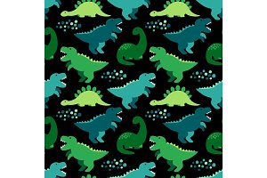 Cute childish seamless pattern with dinosaurs ideal for fabrics, wallpaper and different surfaces