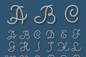 Nautical alphabet ropes letters