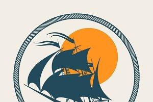 Sailing boat retro poster