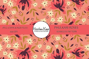 Phulkari Roses Seamless Repeat