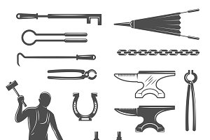 Blacksmith Black White Icons Set