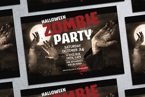 Halloween Zombie Party Poster Mockup