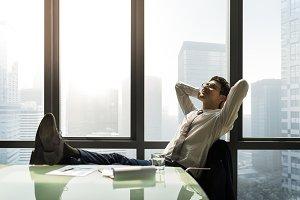 Businessman taking break from work