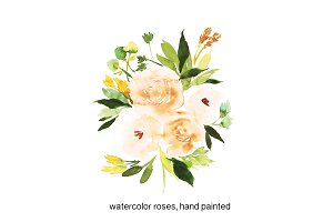 watercolor beige roses
