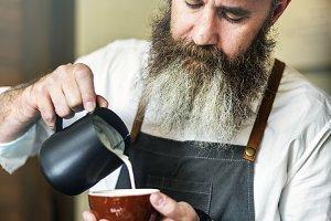 Barista preparing coffee
