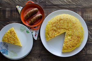 Spanish omelette and sausages.