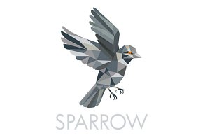 Sparrow Text Low Polygon