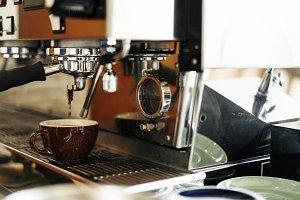 Coffee machines close up