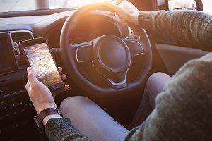 Man Driving and Using Phone Mockup