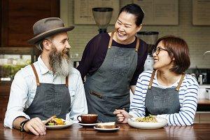 Barista team in cafe