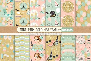 MINT PINK GOLD digital papers