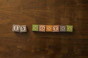 15 months in wooden blocks