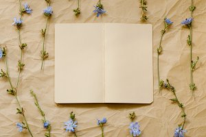 Notebook with dry flowers beside