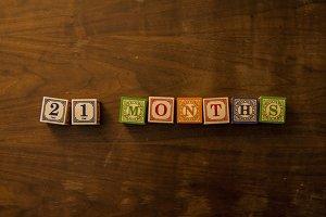21 months in wooden blocks