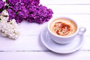 coffee cappuccino in white mug