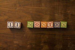 11 months in wooden blocks