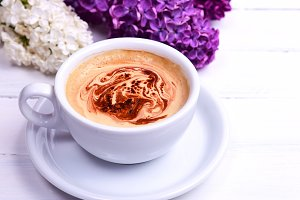 coffee cappuccino in white mug