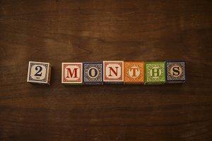 2 months in wooden blocks