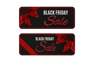 Two black friday sale banners isolated on white.