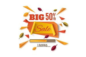 Big sale banner with abstract leafs on white.