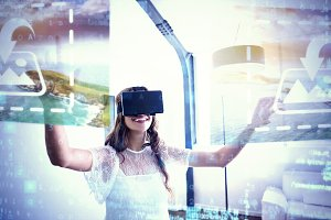 Woman With VR Headset Mockup