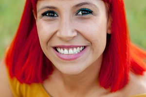 Attractive red haired woman