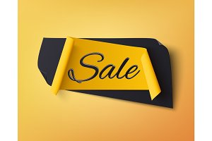 Black and yellow abstract sale banner.