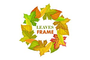 Autumn Leaves Vector Frame in Flat Design