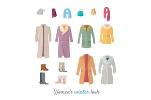 Women s Winter Look Vector Concept in Flat Design