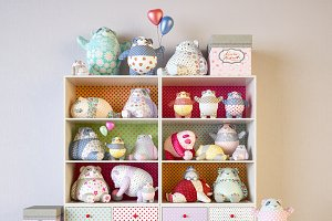 Shelves with panda toys