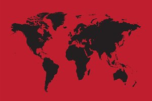 World map black with red background