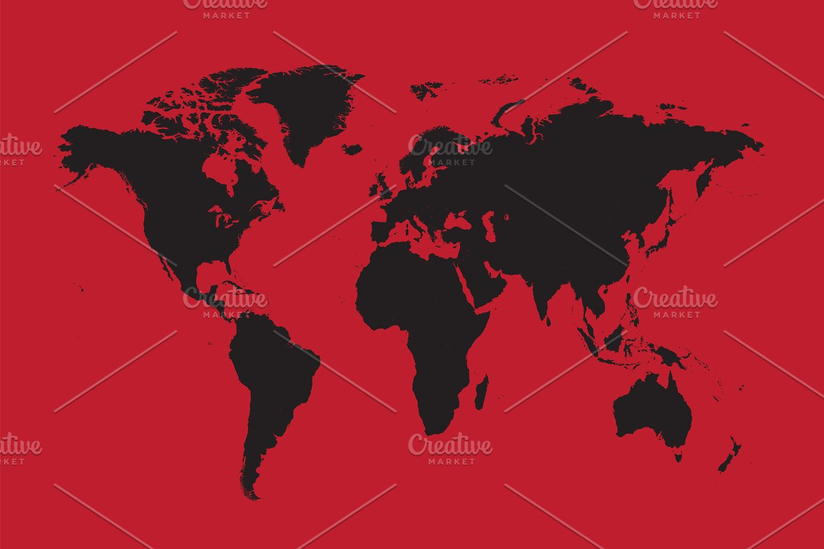 World Map Black With Red Background Graphics Creative Market