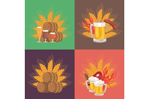 Four Sets of Beer Composition Vector Illustration