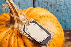 Orange pumpkin with decorative tag