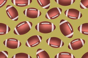 American football ball seamless pattern
