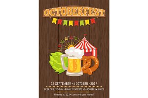 Octoberfest Promotional Poster with Food and Drink