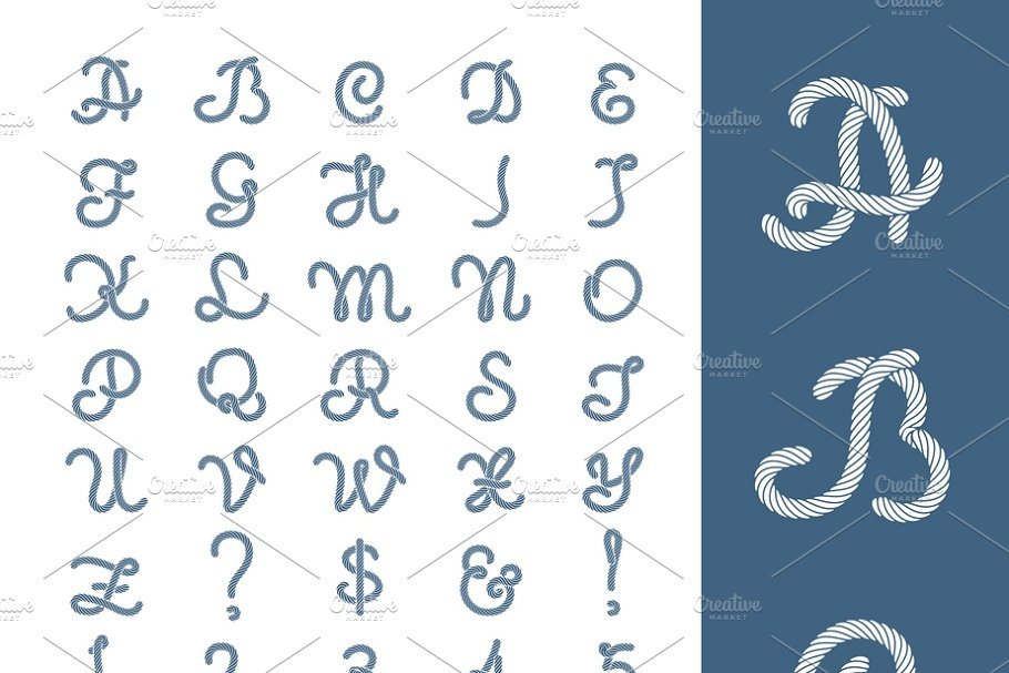 Nautical rope letters thread font