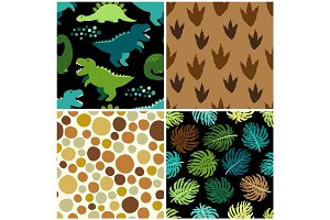 Cute set of childish seamless patterns with dinosaurs ideal for fabrics, wallpaper and different surfaces