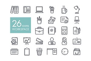 Workspace outline icon. Workspace sign
