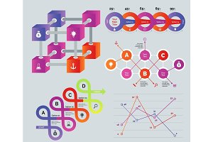 Creative multicolored diagrams set