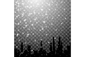 Falling snow and winter city