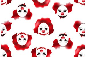 Happy Halloween seamless pattern with creepy and scary clown masks