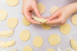 Woman hand's make ravioli