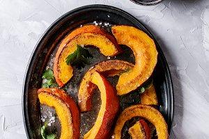 Roasted slised pumpkin