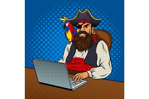 Pirate with laptop pop art vector illustration