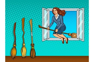 Girl flies on broom in window pop art vector