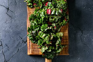 Cutting fresh chard salad