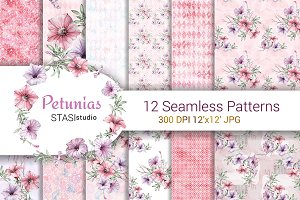 Petunias Watercolor Pattern