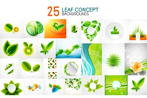 Vector mega collection of green concepts, leaf icons, summer and spring ideas